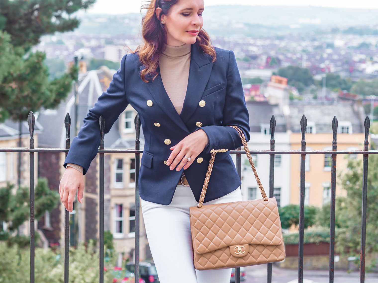 Double breasted navy blue Holland Cooper blazer classic Chanel jumbo flap bag beige