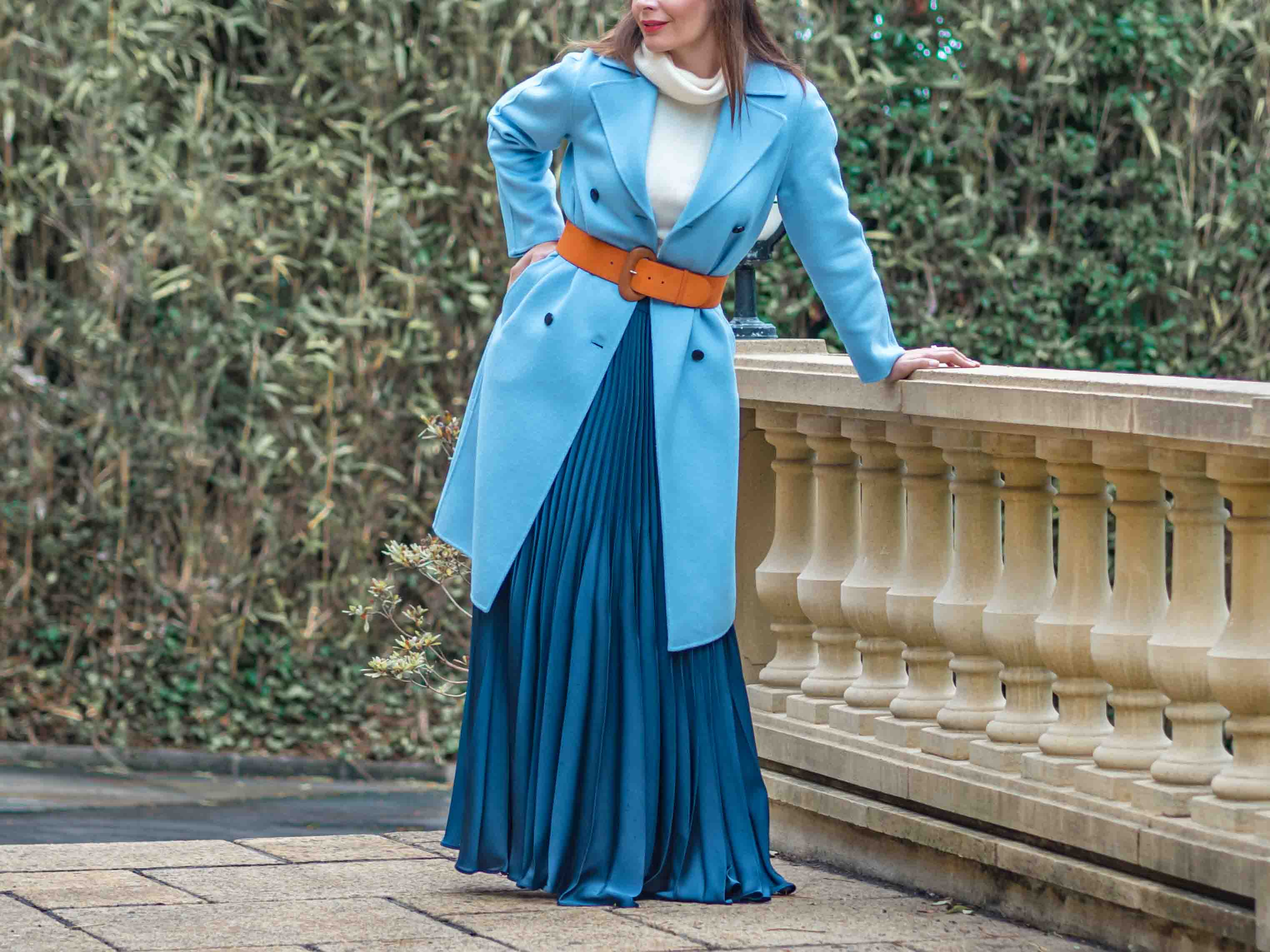 What to wear with pleated maxi skirt in winter