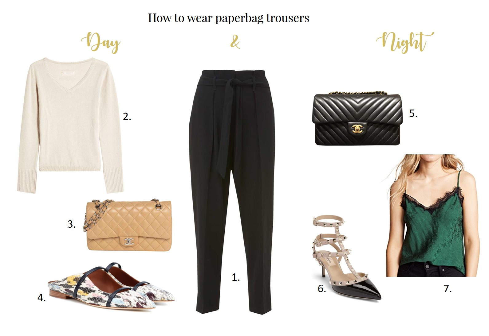 How to wear paperbag trousers day and night by Chic Journal