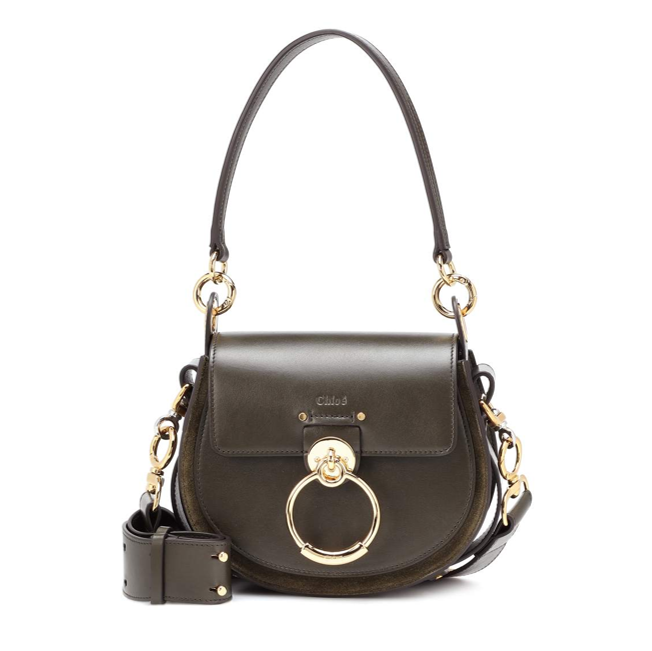 Chloe Tess small leather and suede saddle bag in khaki