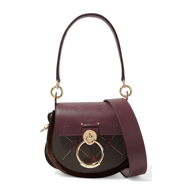 New embroidered Chloe Tess bag in burgundy leather