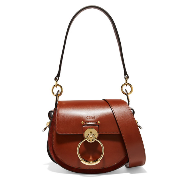 Chloe Tess small saddle bag brown leather and suede