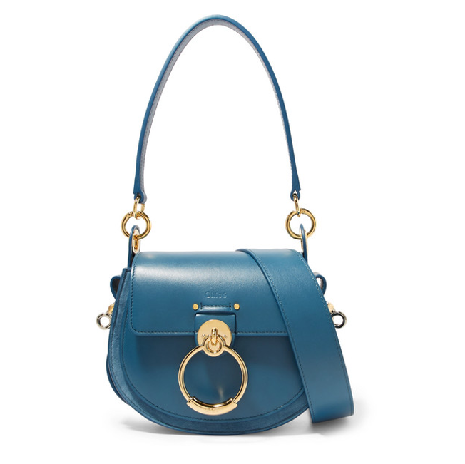 Chloe Tess saddle bag leather and suede teal colour