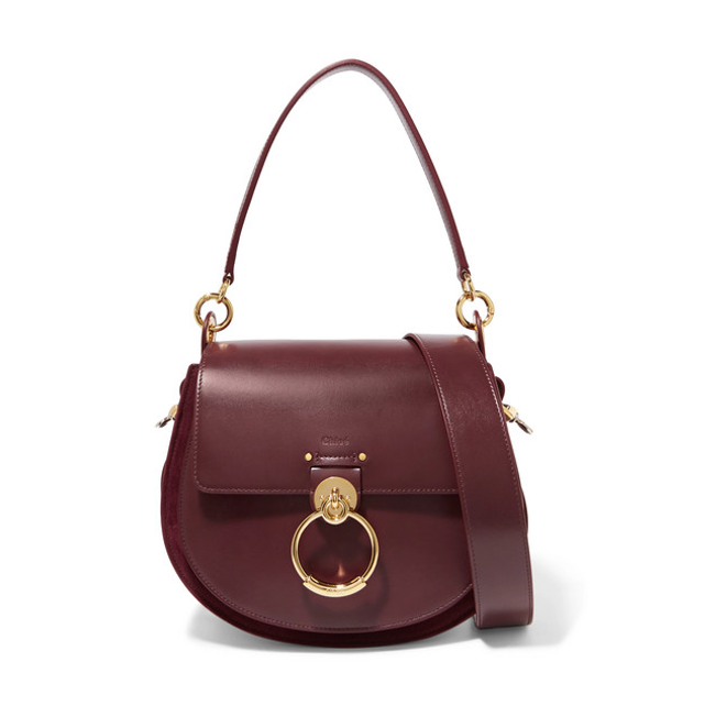 Chloe Tess burgundy leather and suede bag 2018
