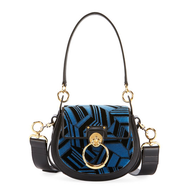 Chloe Tess embroidered leather bag blue