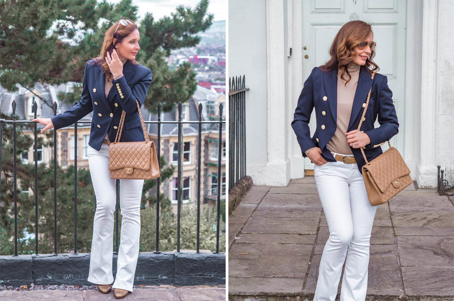 Holland Cooper jacket in navy blue Chanel large beige flap bag white flare jeans