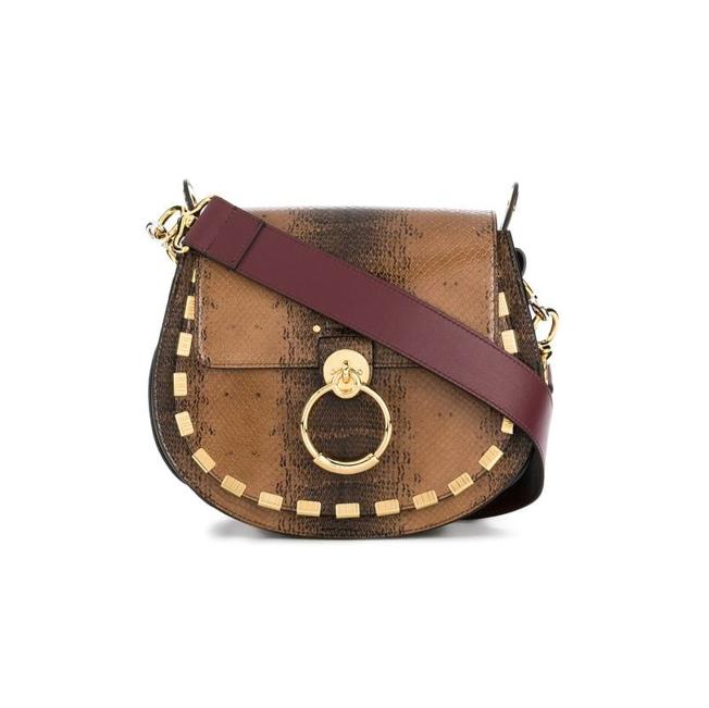 Chloe Tess large saddle bag with snake skin effect finish