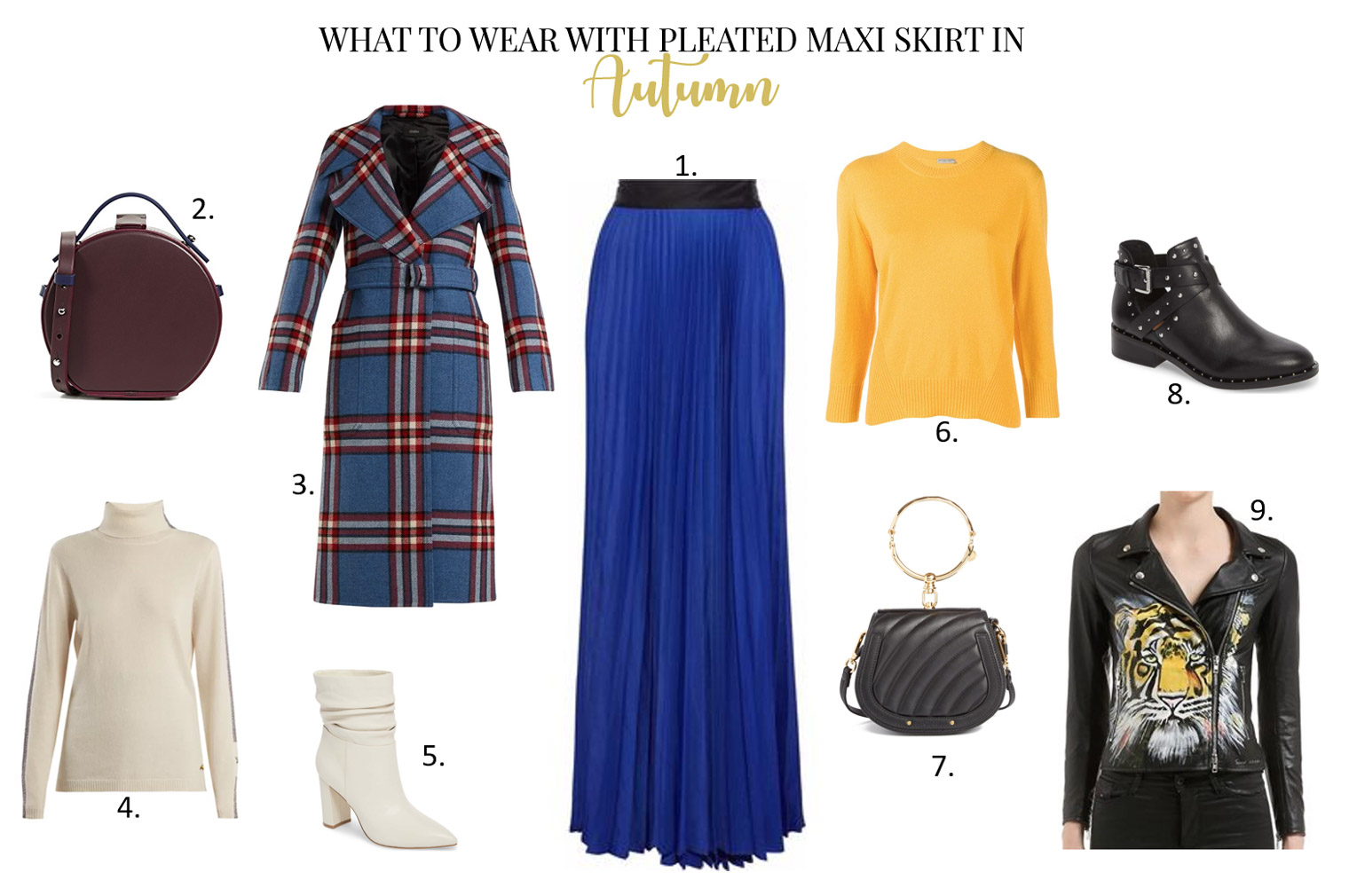 What to wear with pleated maxi skirt in the fall