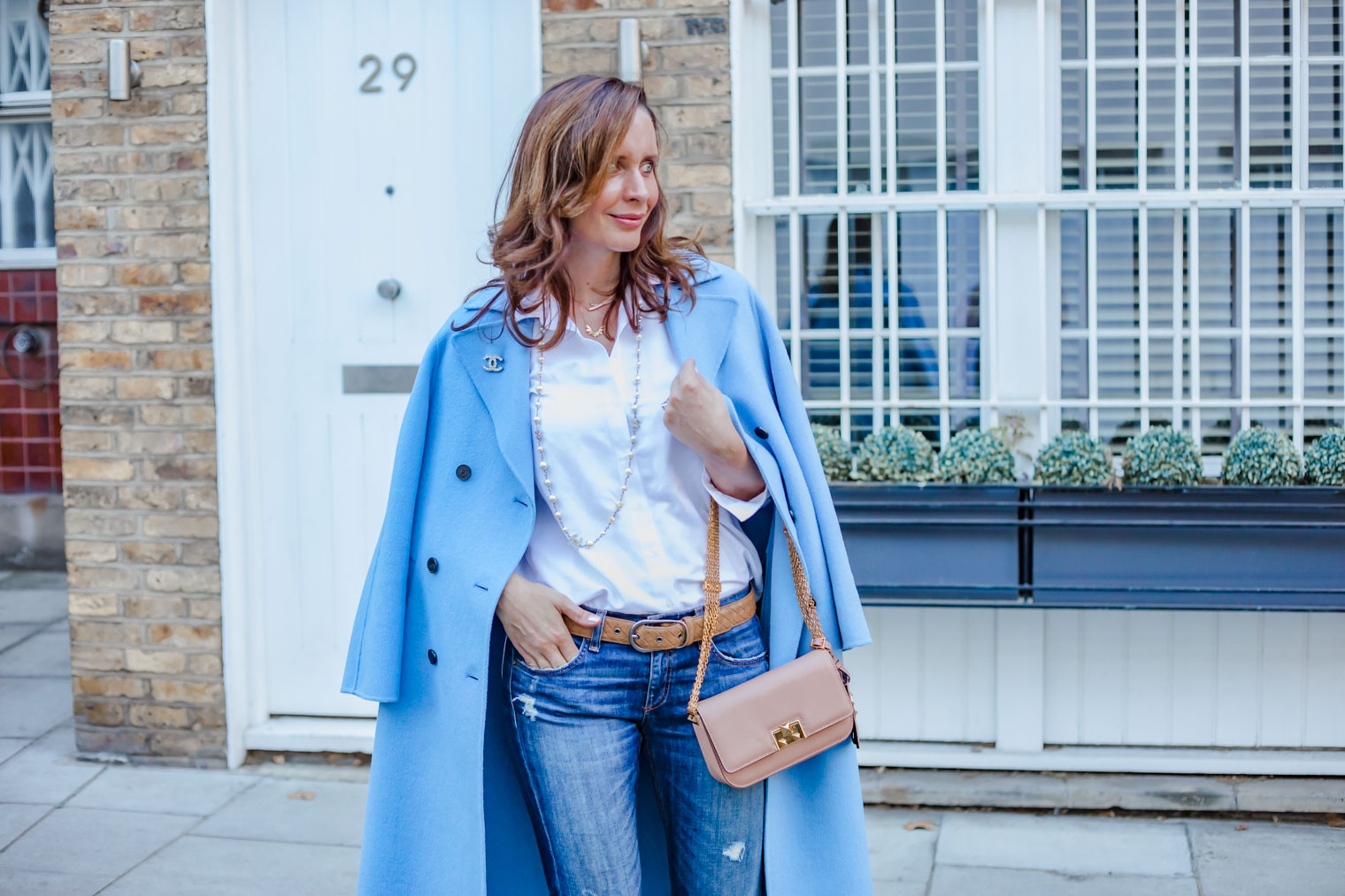 Blue coat Chanel outfit casual outfit with white shirt