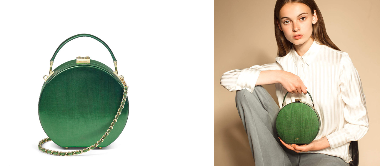 Aspinal of London green round bag Giles collection