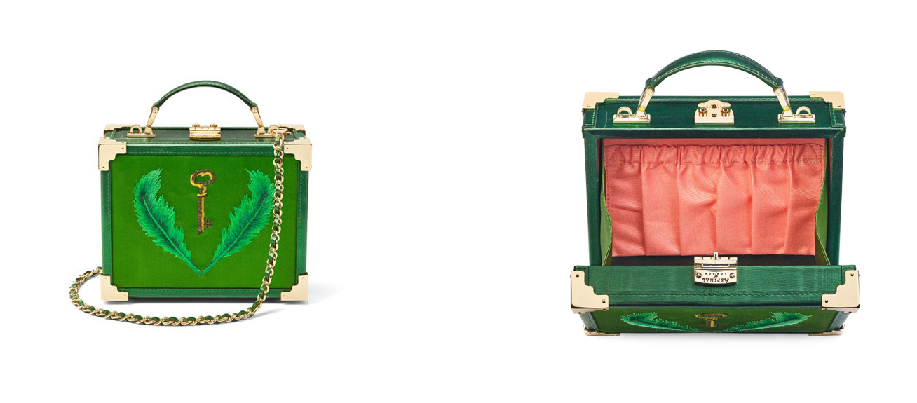 Giles collection Aspinal of London green trunk bag