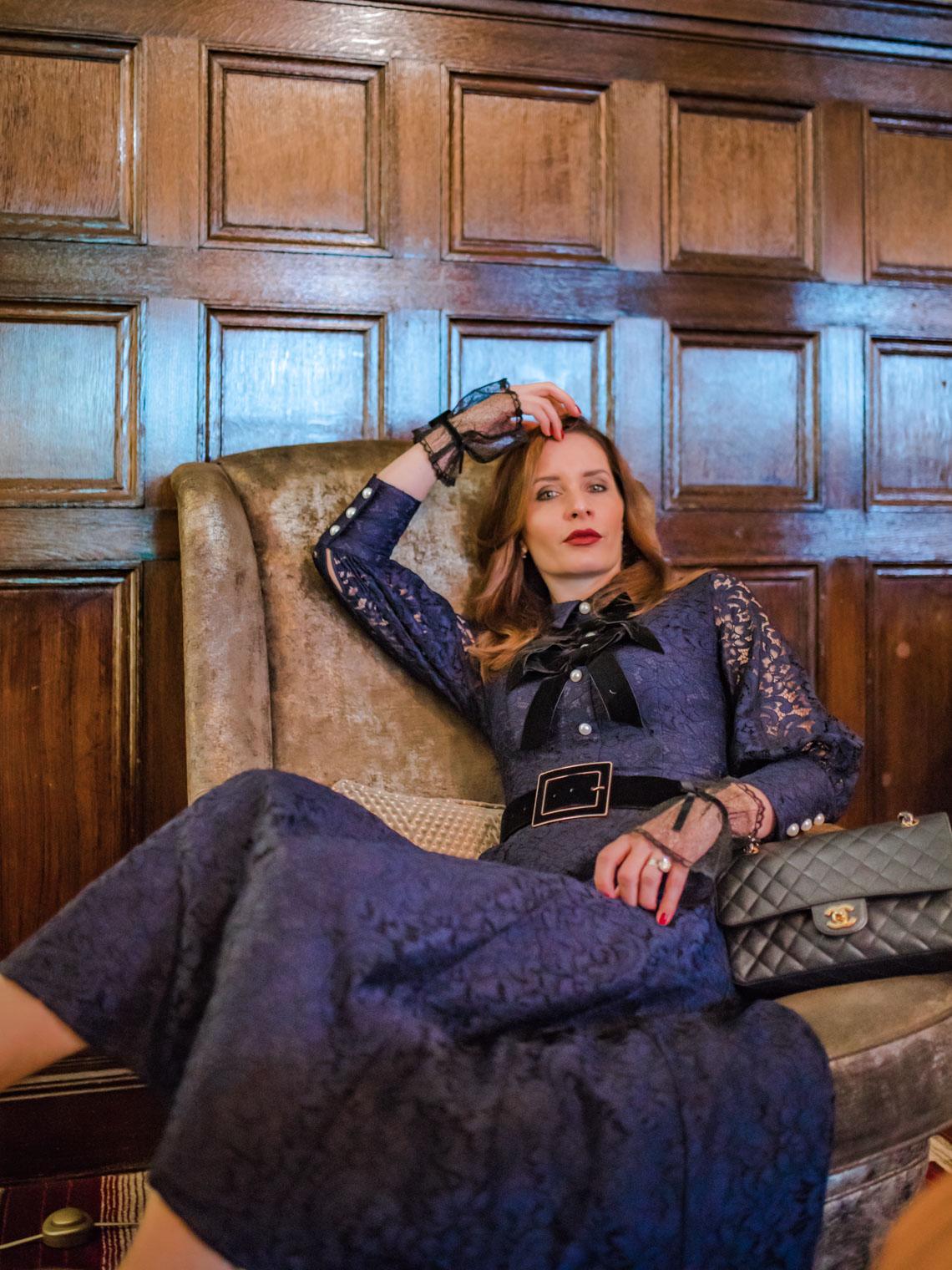 Blue lace Atlantic Pacific midi dress Chanel bag Azima Exclusive