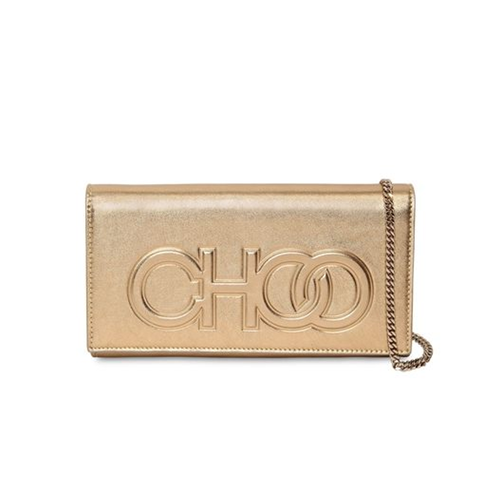 JIMMY CHOO SANTINI EMBOSSED LOGO LEATHER CLUTCH PARTY BAGS