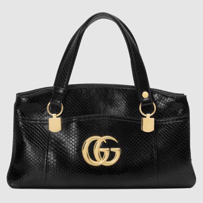 Large Gucci Arli bag python skin black