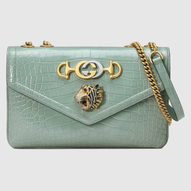 Crocodile skin Gucci Rajah shoulder bag pale green