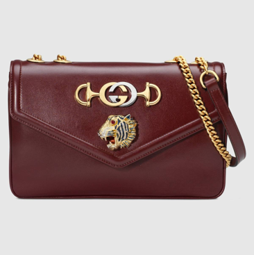 Burgundy leather Gucci Rajah shoulder bag