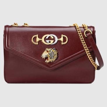 Burgundy leather Gucci Rajah shoulder bag