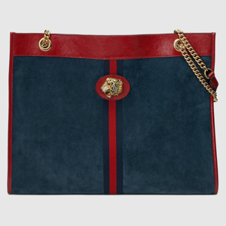 Red and blue large Gucci Rajah tote