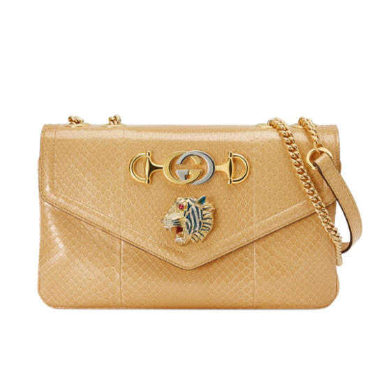 Yellow python skin Gucci Rajah shoulder bag