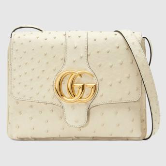 Medium Gucci Arli shoulder bag ostrich skin white