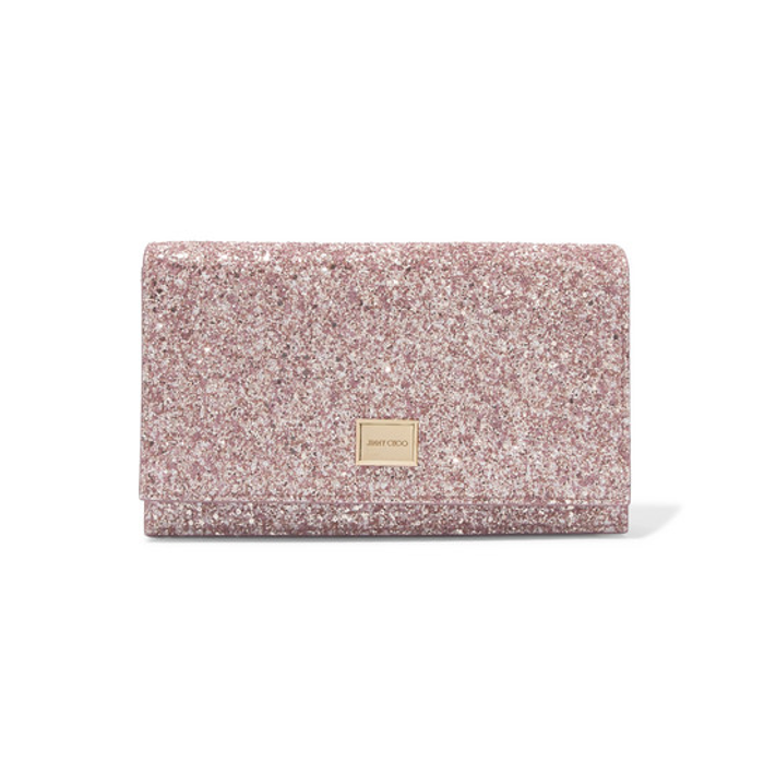 JIMMY CHOO Lizzie glittered leather clutch