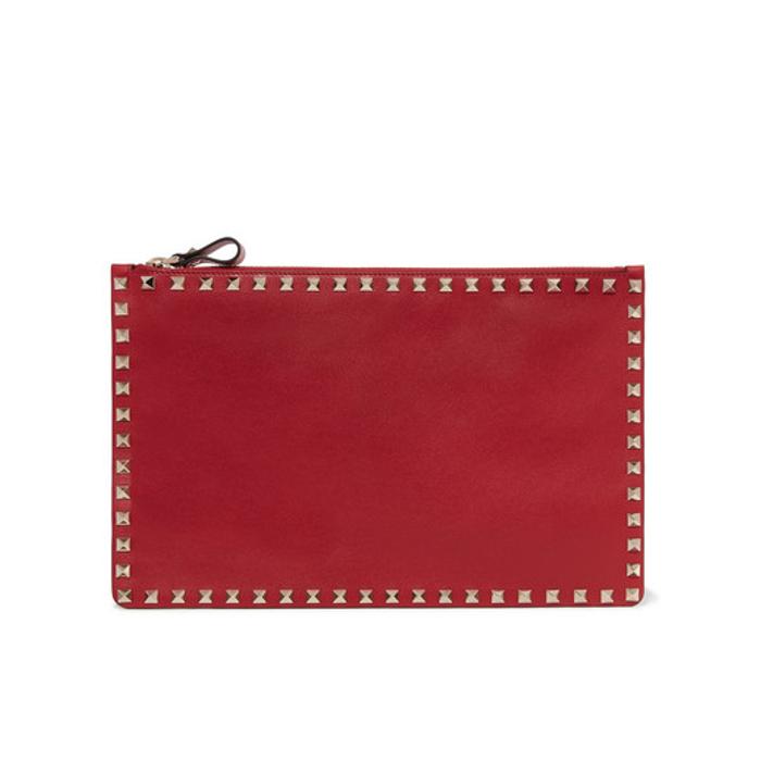VALENTINO Valentino Garavani The Rockstud textured-leather pouch