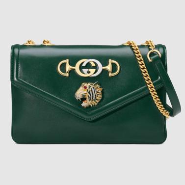 Green Gucci Rajah shoulder bag