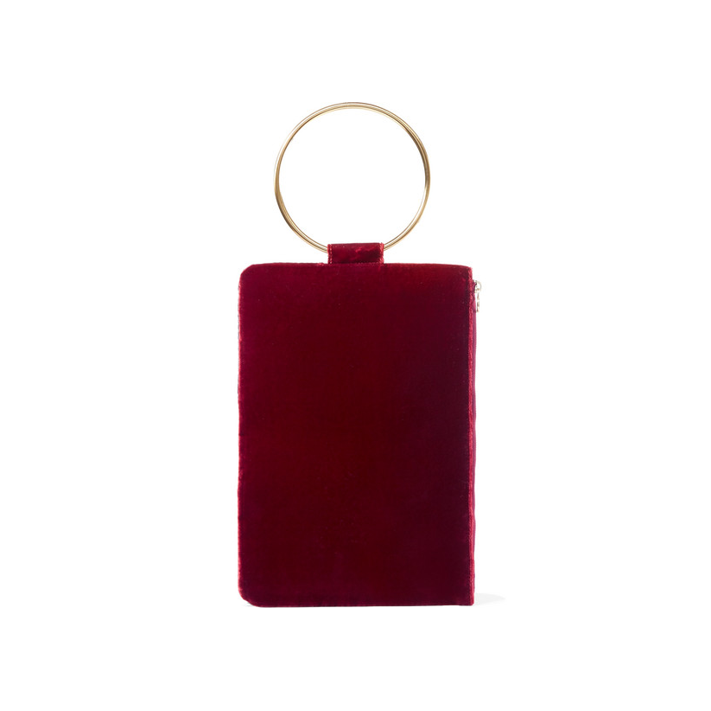 TARA ZADEH Ziba crushed-velvet clutch PARTY BAGS