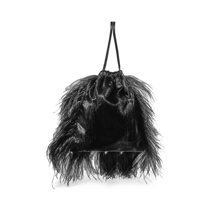 ATTICO Feather-trimmed lamé and velvet pouch
