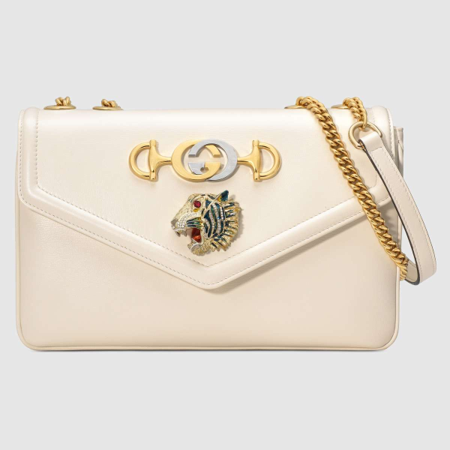 White leather Gucci Rajah bag