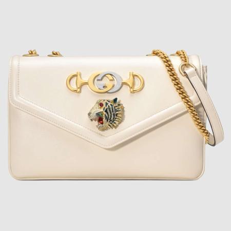 White leather Gucci Rajah bag
