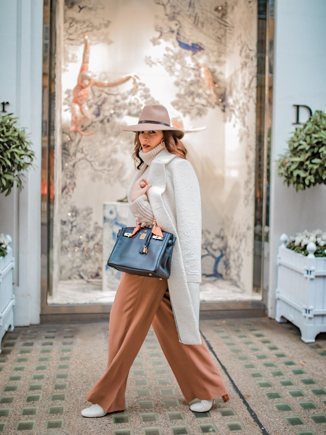 White shearling coat Hermes Birkin bag