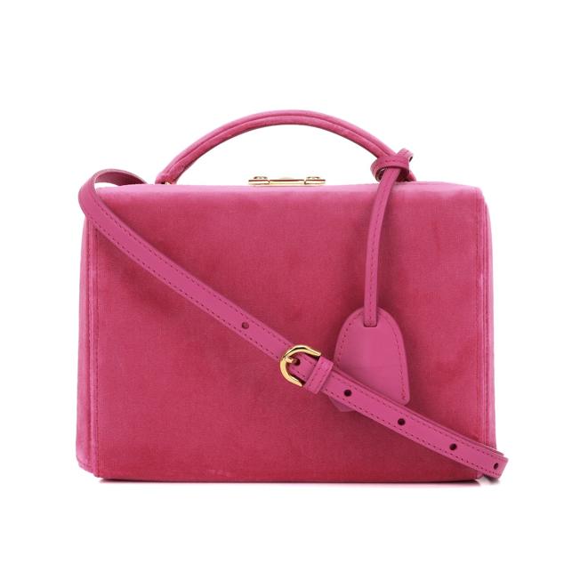 MARK CROSS Grace Small Box velvet shoulder bag pink