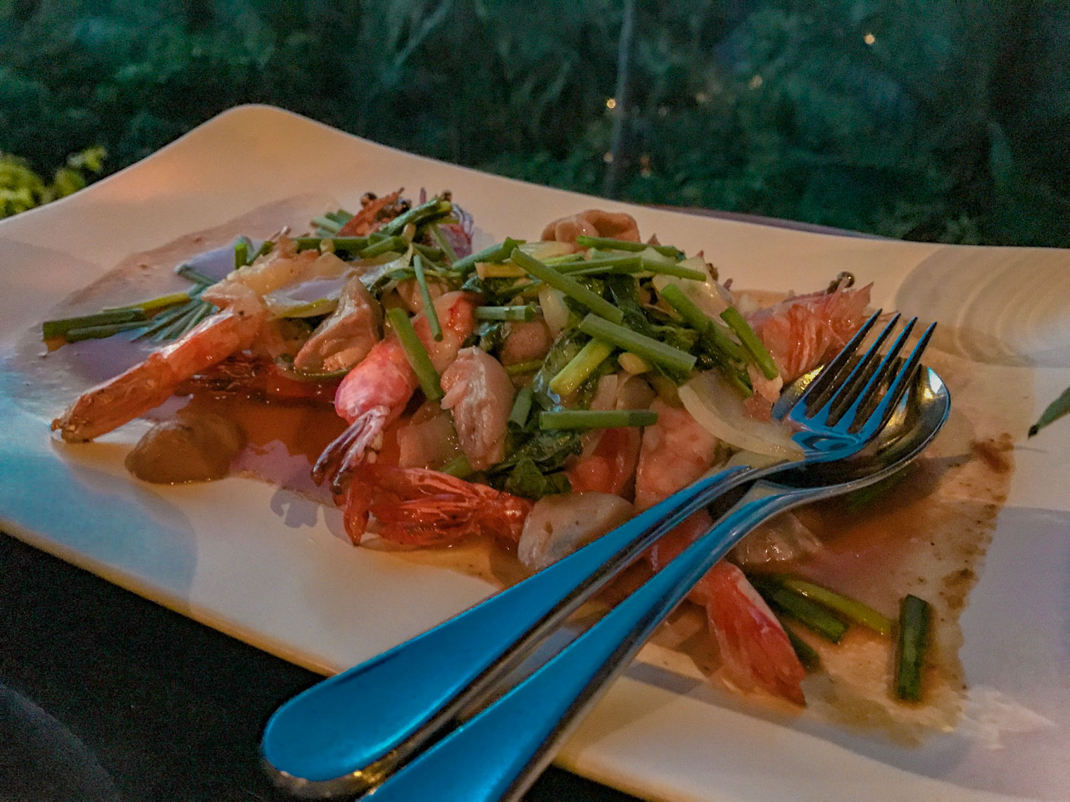 Tiger prawns with lemongrass at Four Seasons restaurant KOH Thailand