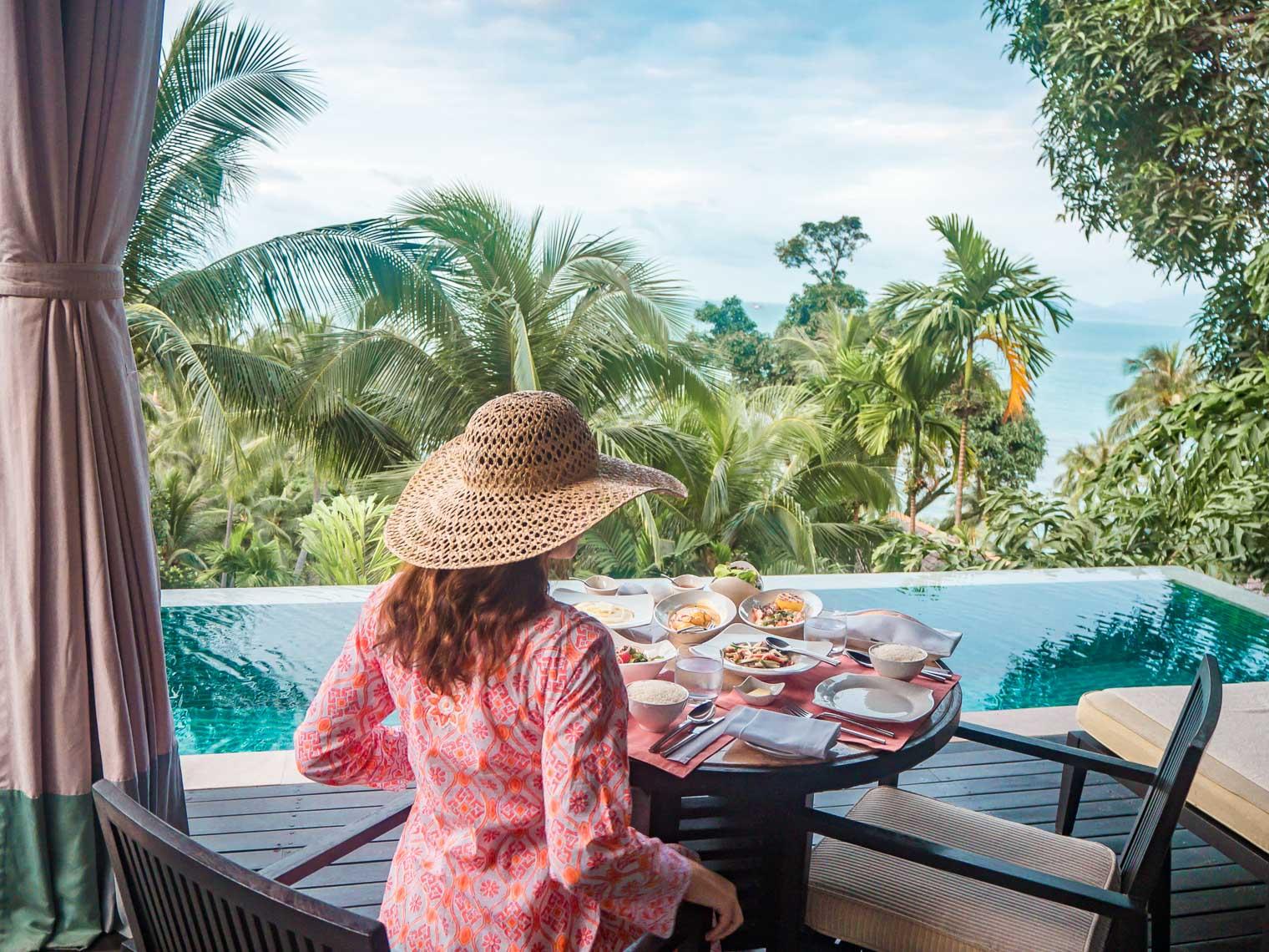 Dinner at the private villa at Four Seasons Koh Samui Thailand