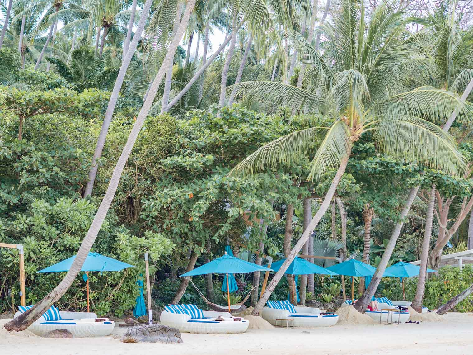 Private beach at Four Seasons hotel Koh Samui