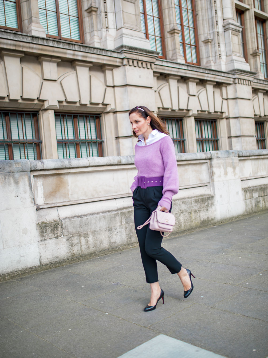 How to style off the shoulder lilac sweater to the office