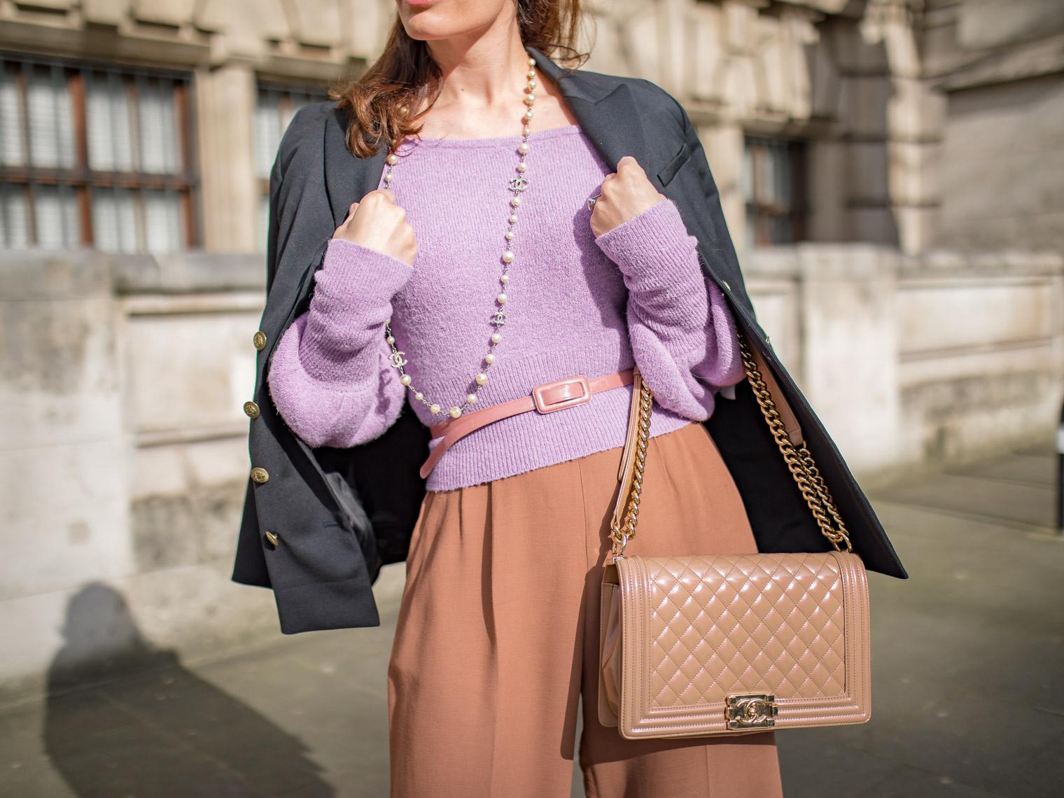 Chanel pearl necklace Chanel Boy bag Keepsake purple sweater