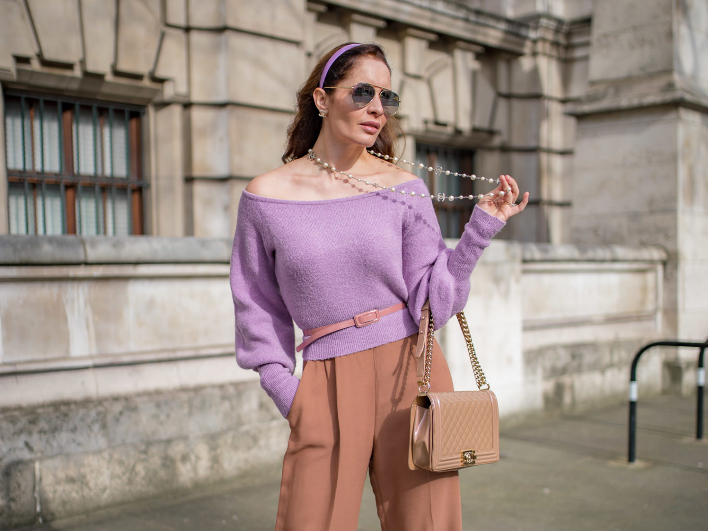 How to wear this purple sweater for three different occasions