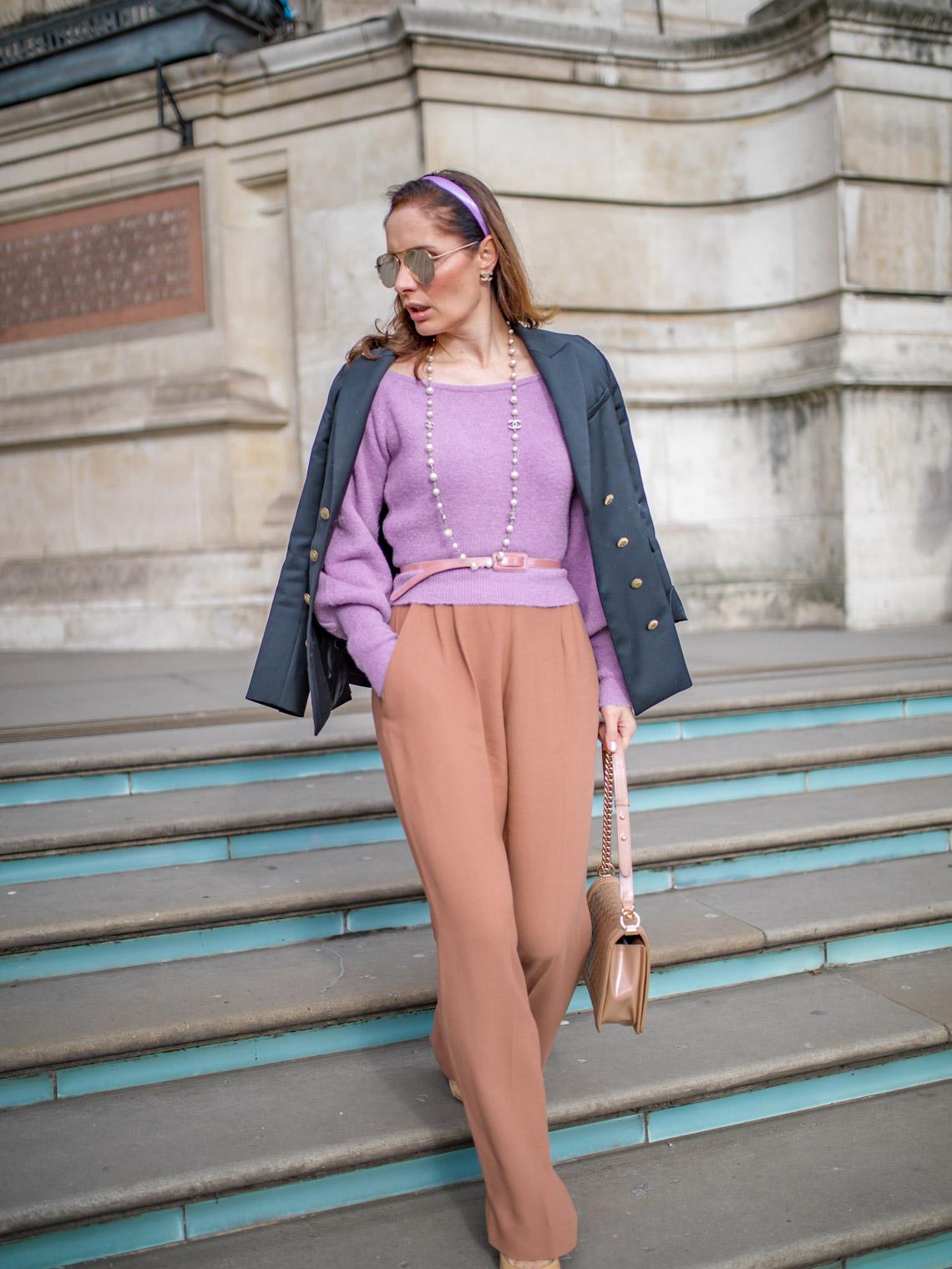 Keepsake sweater Maje blazer Elisabetta Franchi palazzo pants
