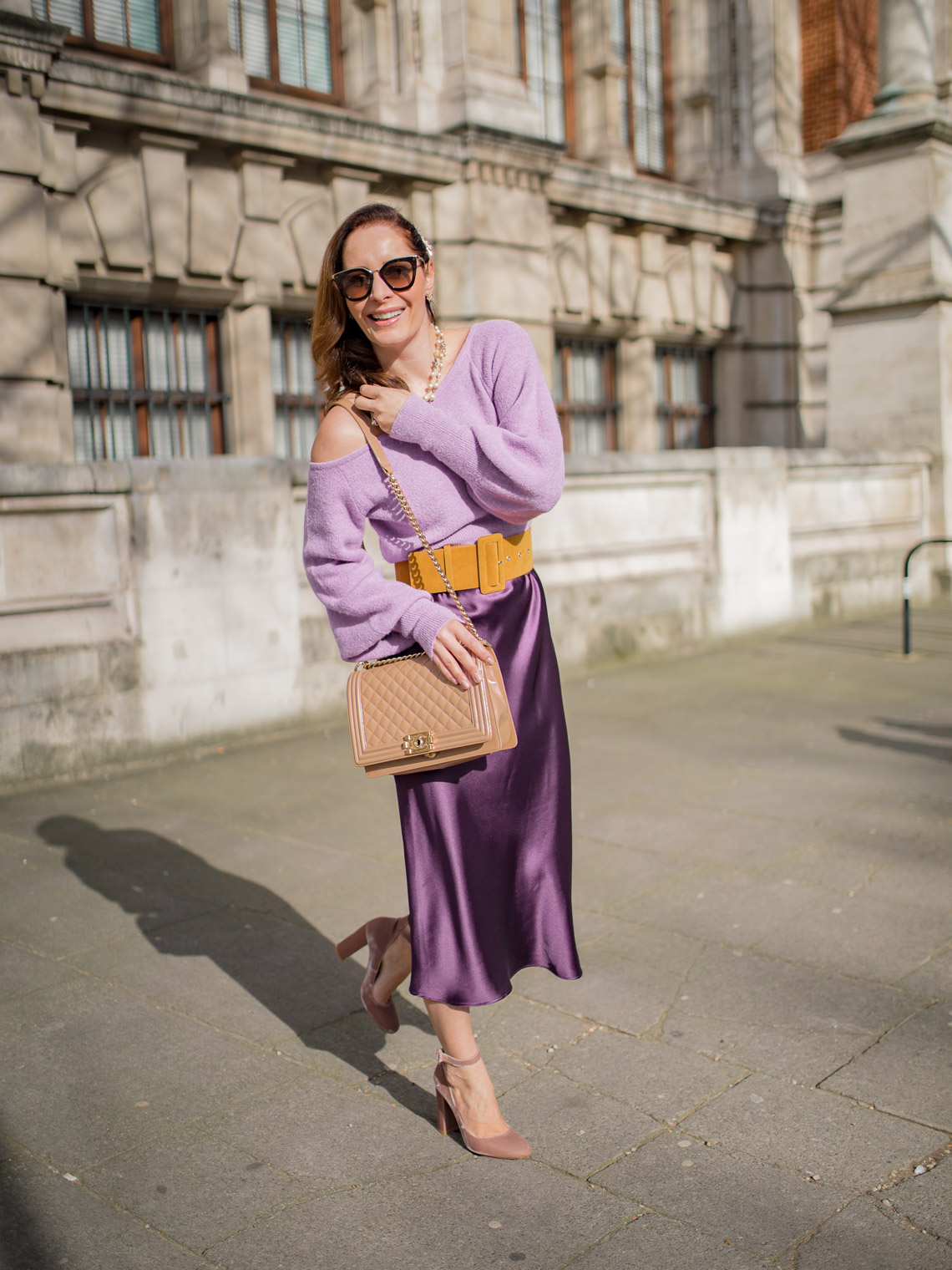 Off the shoulder purple sweater styling