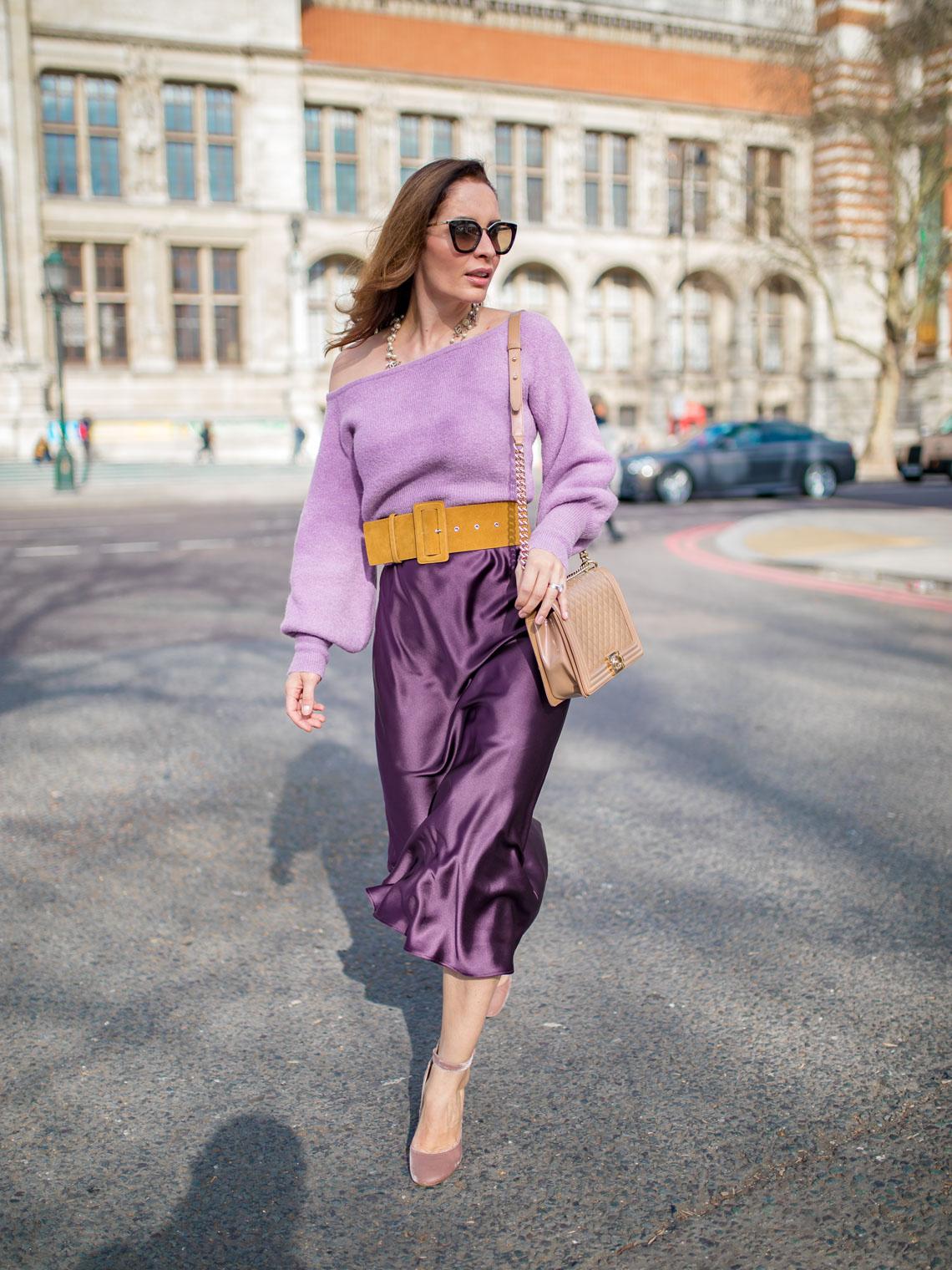 Keepsake off the shoulder sweater lilac