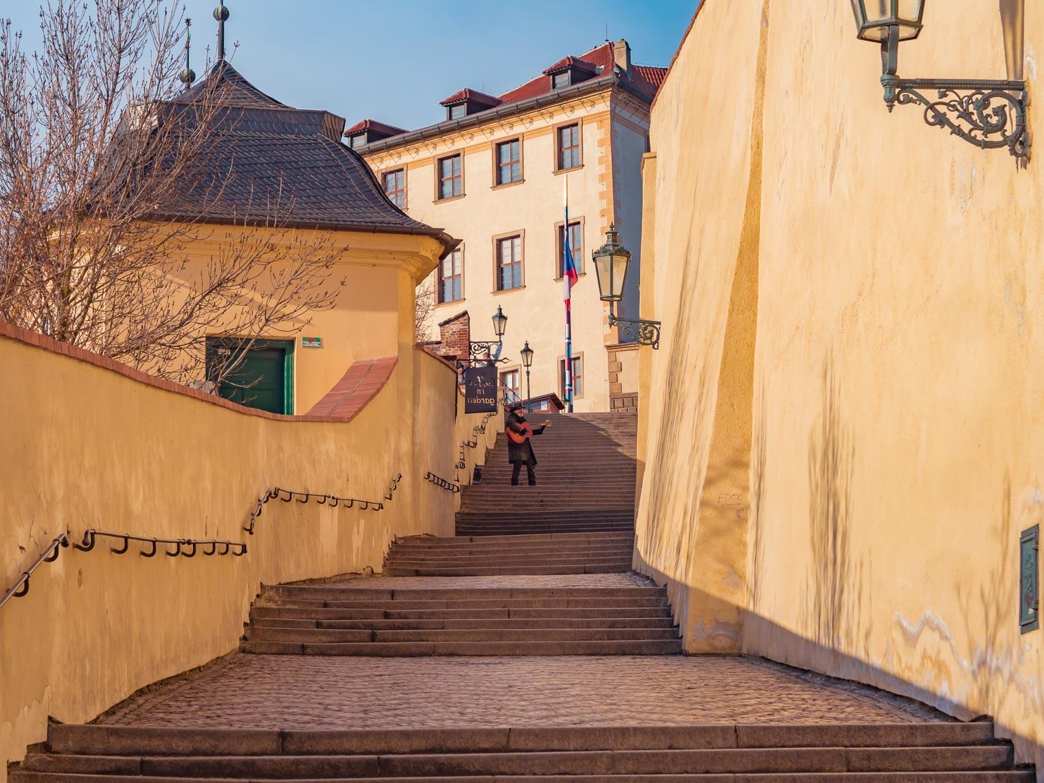 Zamecke schody Prague sightseeing walk to Prague castle