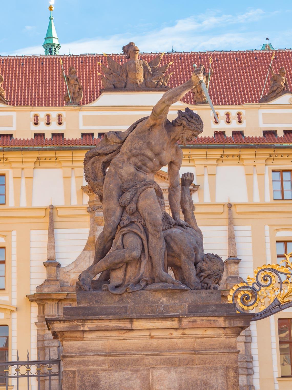 Statues at Prague Castle entrance