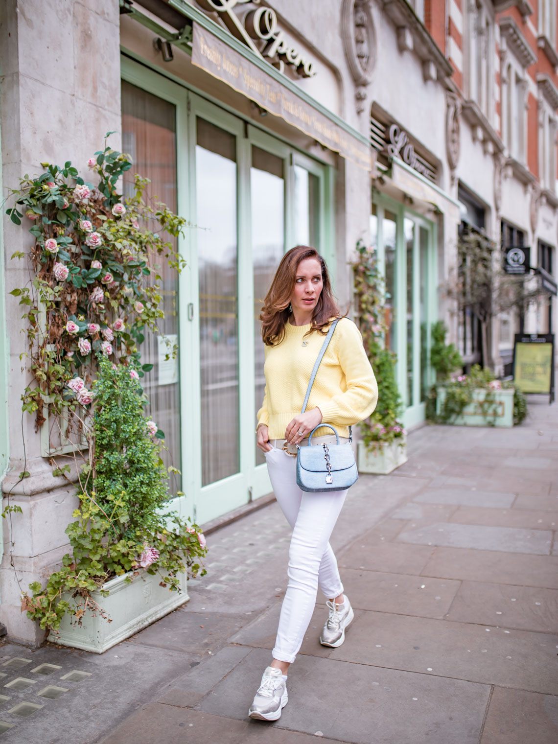 How to wear yellow sweater in spring The Fifth Label, Louis Vuitton Chain It Bag