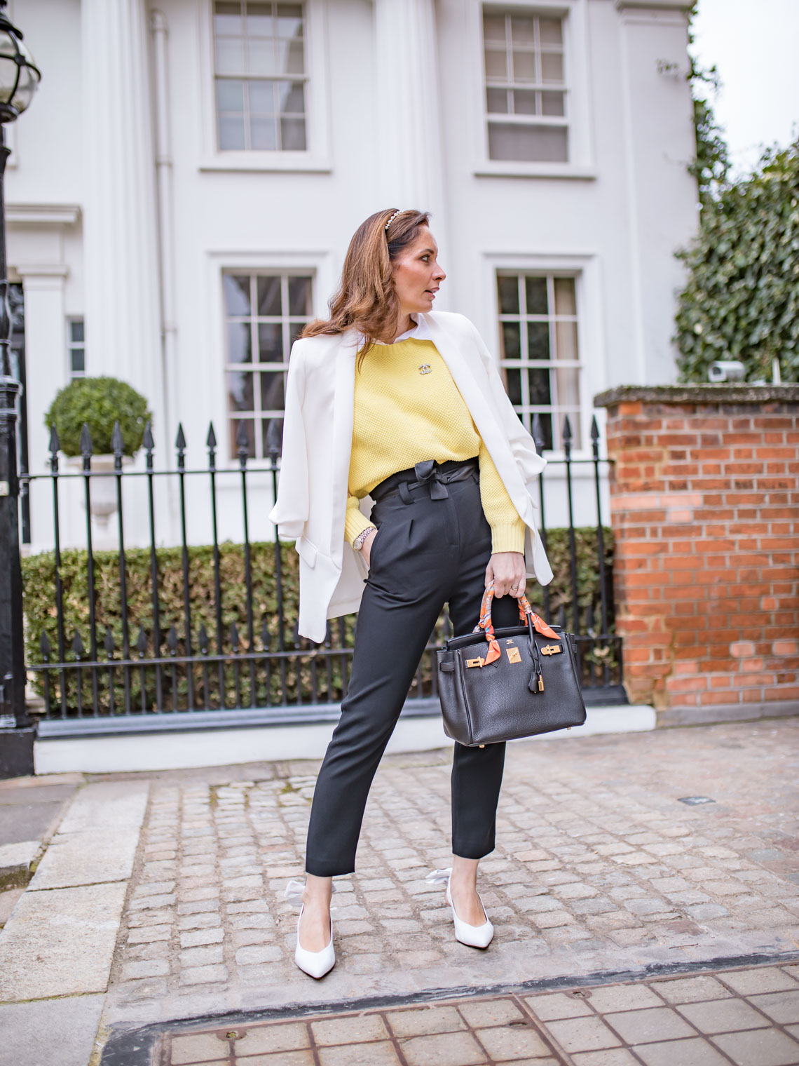 How to wear yellow sweater for work Hermes Birkin Chanel brooch