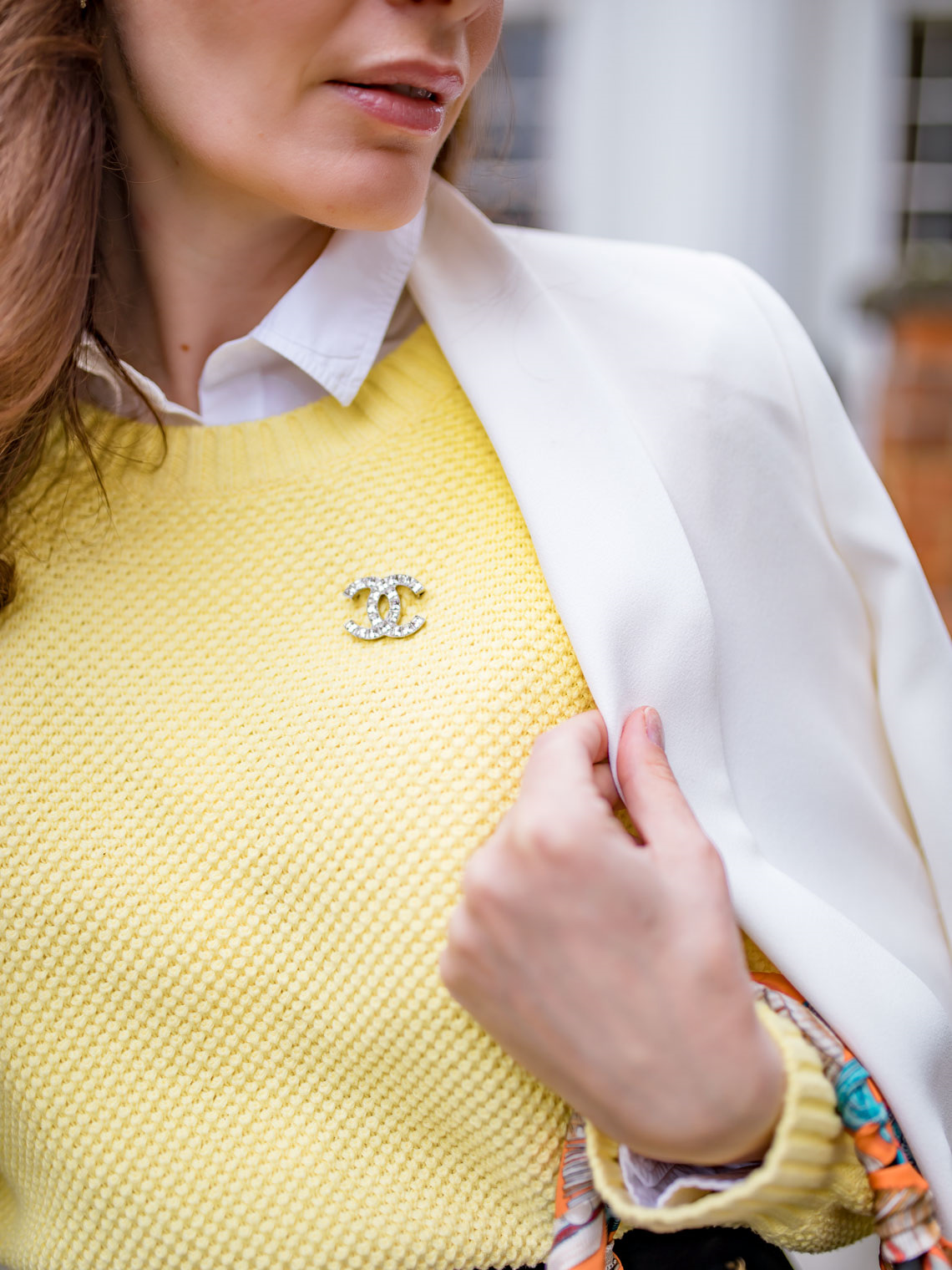 Yellow sweater The Fifth Label Chanel brooch