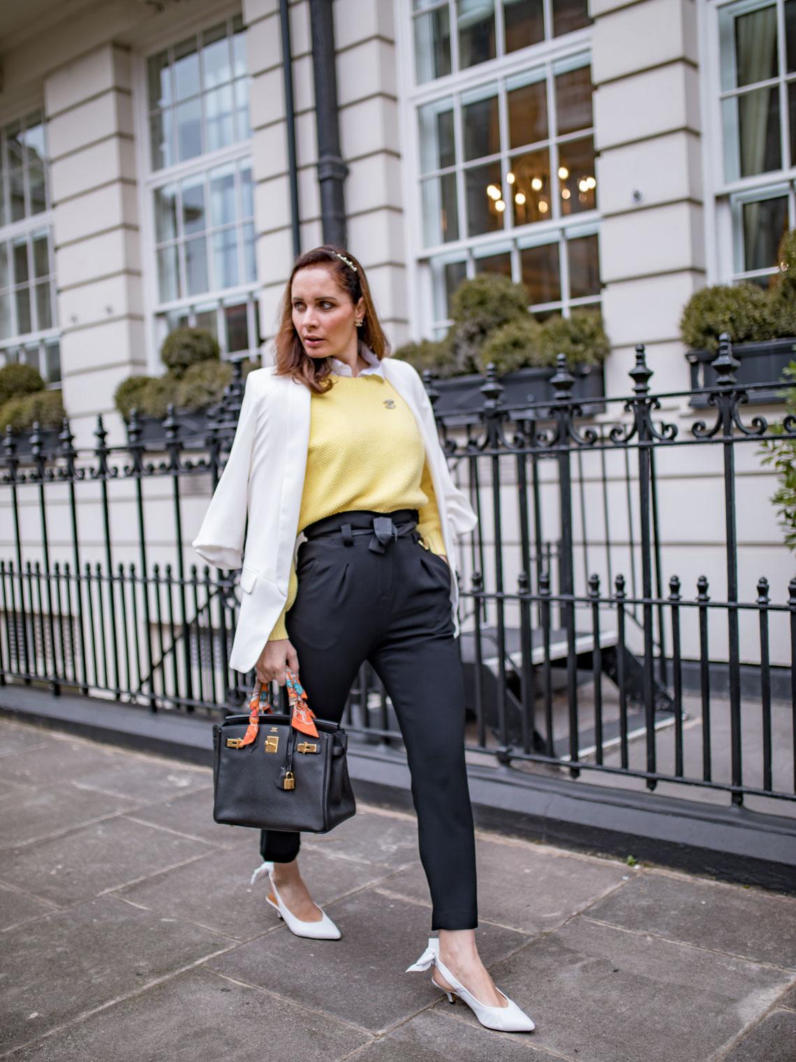 Yellow sweater paperbag waist pants Hermes Birkin white slingbacks