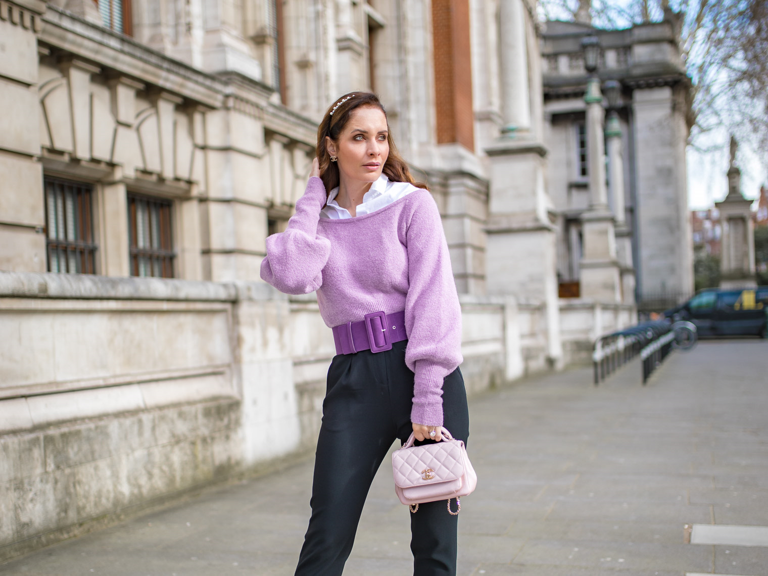 How to wear off the shoulder sweater to the office