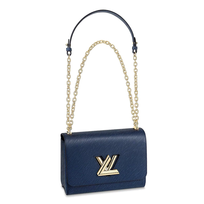 Louis Vuitton Twist MM blue with gold hardware